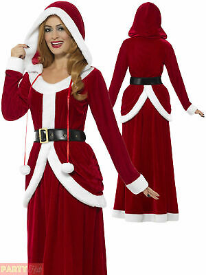 Ladies Deluxe Miss Claus Mrs Santa Long Fancy Dress Costume Christmas Outfit