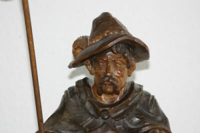 "Rare tall 31"" Antique German nightwatcher black forest statue wood carved lamp"