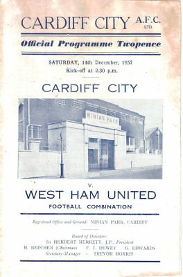 1957/8 Cardiff City reserves v West Ham Utd res, Football Combination, 14 Dec