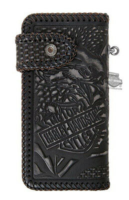 Harley-Davidson Mens Freedom Eagle Woven Biker Black Leather Bifold LODIS Wallet