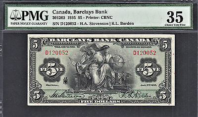Canada, Barclays Bank $5 1935 Cat. 301202 Ch Very Fine PMG 35