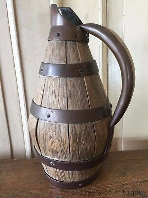 French Vintage Wine Cider Pitcher Jug Wood Brass for Bar Gift - TM703