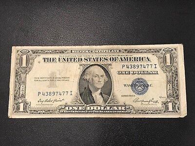 1 Dollar 1935 E United State Note Silver Certificate Used