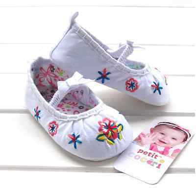Baby Girl White Pleated Embroidered Ballerina Cotton Shoes 0-18m Size 2/3/4