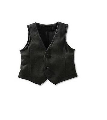 Baby Toddler Boy Formal Tuxedo Dress Suit Satin Polyester VEST *Black*  size 1.2