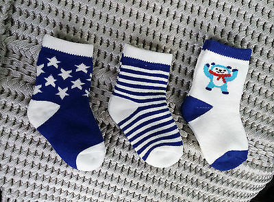 NEW.. Set of 3 Baby Infant Boys Rich Cotton Ribbed Socks ... fits 0-1 years gift