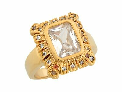10k or 14k Yellow Gold White CZ Antique Style Wide Band Ladies Ring