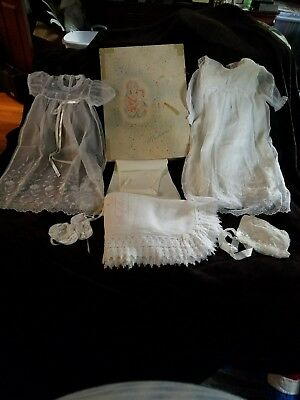 Vintage Madonna Baby Christening Outfit Set Robe Dress Slip Bonnet Shoes & Shaw