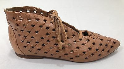 VTG  80s Caramel Leather Woven Lace Up Ankle Boots by VIDEO, Brazil, EUC SZ 10 M