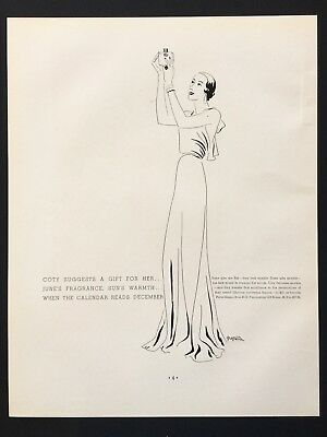 1932 Vintage Print Ad COTY PERFUME Woman Illustration Line Drawing Art