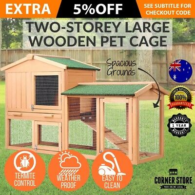 Rabbit Hutch Chicken Coop Cage Guinea Pig Ferret House w/ 2 Storey Run