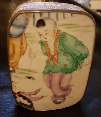 Vintage-Silver-Tone-Boy Spider Porcelain-Asian-Chinese-Shard-Trinket-Jewelry-Box