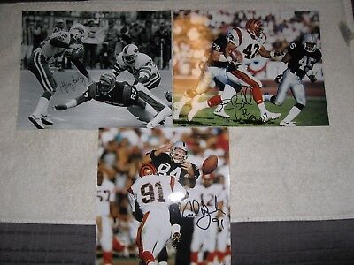 LOT OF THREE CINCINNATI BENGALS AUTOGRAPHED 8x10 PHOTO'S WITH LOA NO RESERVE