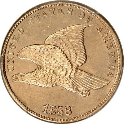 1858 1C Small Letters Flying Eagle Cent PCGS Unc details - cleaned