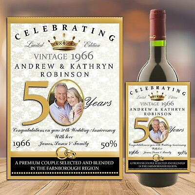 Personalised Golden 50th Wedding Anniversary WINE / CHAMPAGNE BOTTLE PHOTO