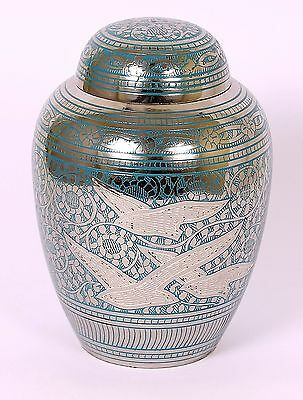Cremation Urn for Ashes pet dog cat Memorial Funeral Medium/Small Blue Brass urn