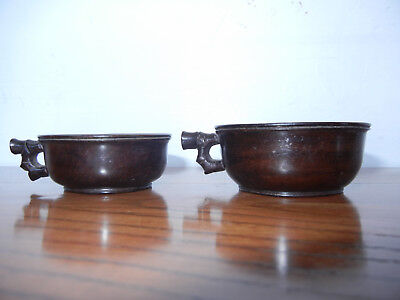 Two Antique Chinese Huanghuali Wine Cups with Carved Handle