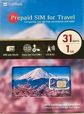 31 Days 1 GB Pre-Paid SIM for Travel (multiple size, tablet/mobile)