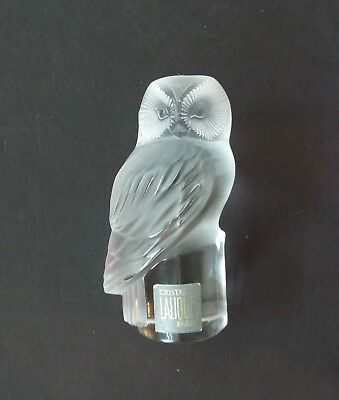 LALIQUE Clear & Frosted Crystal CHOUETTE Hibou Owl Paperweight, Original Label