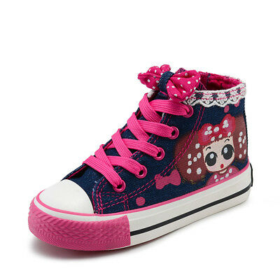 Child Girls Lace Bowknot High Top Canvas Shoes Casual Sneakers Kids Sports shoes