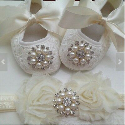 Roses Baby girl Christening Baptism Shoe and headbands