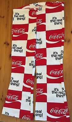 Vintage Bellbottom  COCA COLA  Beach Pants  Size: 15 (Small) Cotton Linen