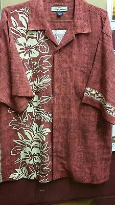 TOMMY BAHAMA Silk Hawaiian Floral M S/S Aloha Camp Men Relax Button Front Shirt