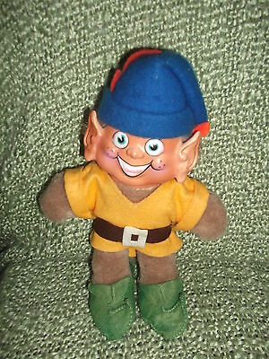"10"" Impish Plush Elf - colorful felt clothing  - molded plastic face - VG"