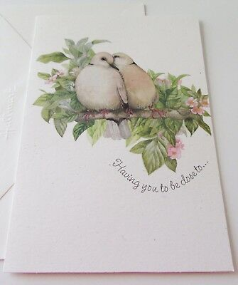 Unused Vintage Birthday Card Marjolein Bastin Love Birds on Flower Branch