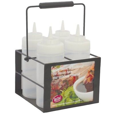 Tablecraft SBC4 Black Powder-Coated 4-Compartment Squeeze Bottle Caddy
