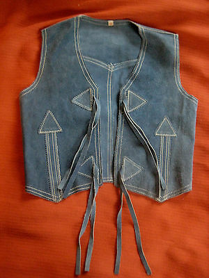 """vintage child Western VEST blue S chest 26"""" cowboy cowgirl costume rodeo parade"""