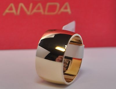 1 Pair Wedding Rings - Gold 585 Polished - Wide 8mm - Thick 1,8mm