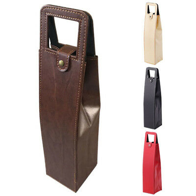 Simple Wine Bottle Bag Faux Leather Wine Protector Travel Bag Champagne Tote