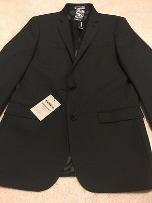 Express Photographer Black Pinstripe Fitted Suit Jacket NWOT Size 42 Long