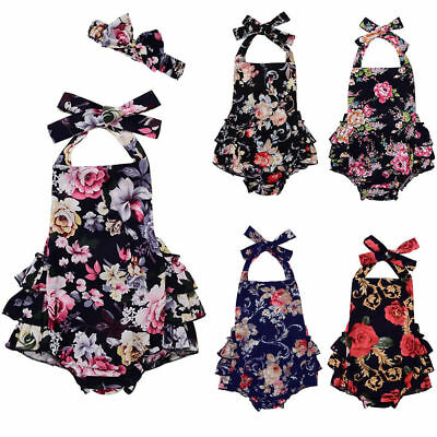 AU Stock Baby Girls Floral Ruffle Romper Jumpsuit Summer Dress Headband Outfits