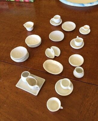 17-39:  Many tiny pieces of Dollhouse or Doll White China Tea Set Pitchers Trays