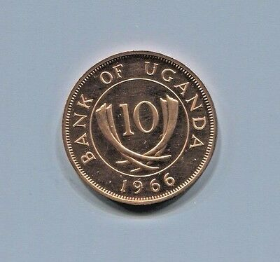 Uganda - Fantastic Historical Proof Bronze 10 Cents, 1966 Km# 2