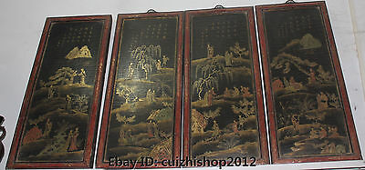 "23"" Old Chinese Palace Wood lacquerware Belle Girl Woman Lady Folding Screen Set"