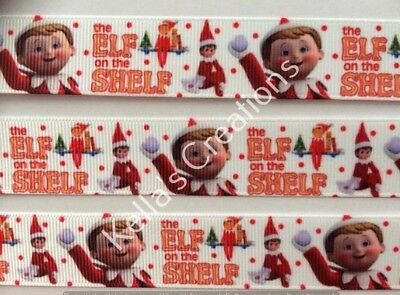 """The Elf on the Shelf Christmas Grosgrain Ribbon 7/8"""" sold by 2 M - Craft-"""