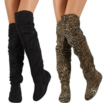 New Womens Vegan Suede Side Lace Up Buckle Strap Over The Knee OTK Flat Boot Zip