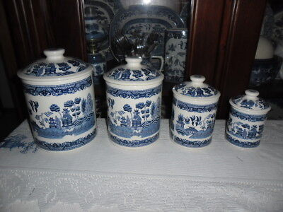 Blue Willow Set Of 4 Canisters