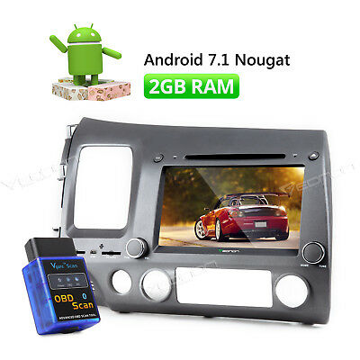 "8"" Android 7.1 Car DVD GPS Navigation for Honda Civic  2007 Bluetooth + OBD-II W"