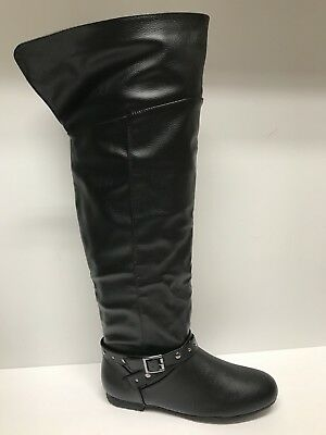 7b4dd382243 DOLCE BY MOJO MOXY  67 Black Over-Knee or FOLD OVER Pirate BOOTS 8 M ...