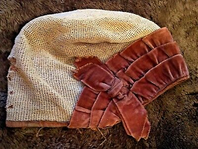 Vintage Antique Childs Hand Crochet Bonnet Cream And Brown Velvet, Flapper Style