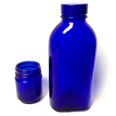 Vintage Cobalt Blue Medical Bottle and Jar Pharmacy Apothecary