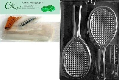 Cybrtrayd Mdk50-S031 Tennis Racquet Sports Chocolate Candy Mould, Includes 50