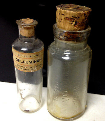 2 x Vintage Medical Bottles Japanese MAGNESIA & GELSEMINUM Pharmacy Apothecary