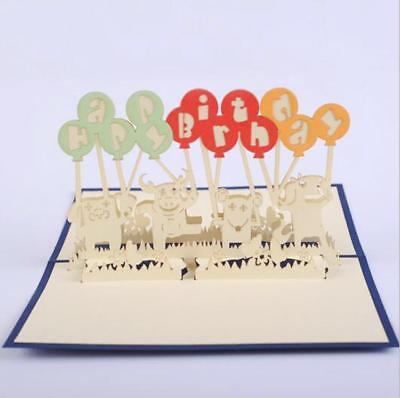 Funny 3D Papercraft Animal Balloon Birthday Greeting Cards For Friend Kids BC5