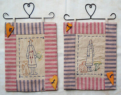 TWO Stitchery Wall Hangings (Hangers Included)- Annie with dog N Annie with cat
