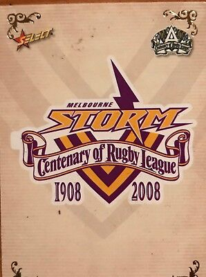 2008 NRL Select Champions Melbourne Storm Team Card
